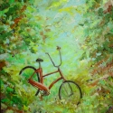 Baseball Bike - Bike with baseball on handlebar. Acrylic 24x30