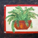 Floorcloth, Potted Fern, Shallow Pot - Shallow terracotta pot with fern. Dark black/brown boarder with red trim. 26x22
